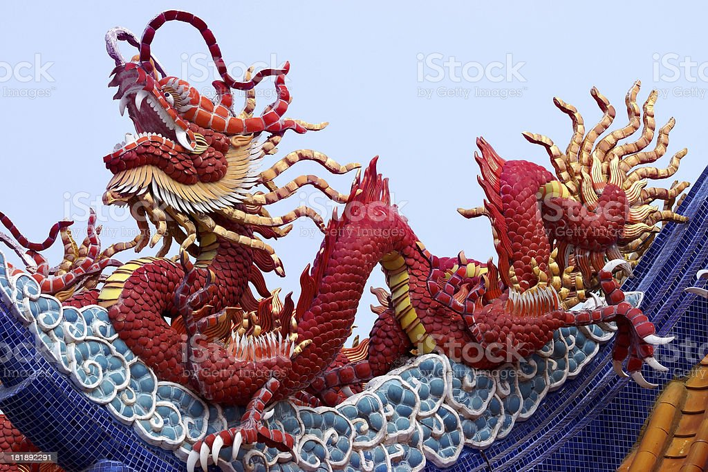 Dragon at Chinese Temple Roof royalty-free stock photo