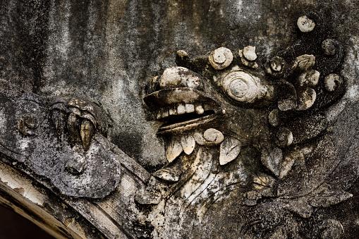 Hoa Ku, Ninh Binh, Vietnam - November 29, 2019: Dragon at temples of Hua Lu in Vietnam