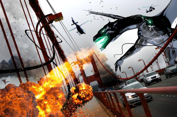 Drachenangriff auf Golden Gate Bridge – Foto