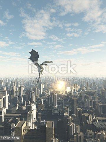 istock Dragon Attacking a Future City 471215570