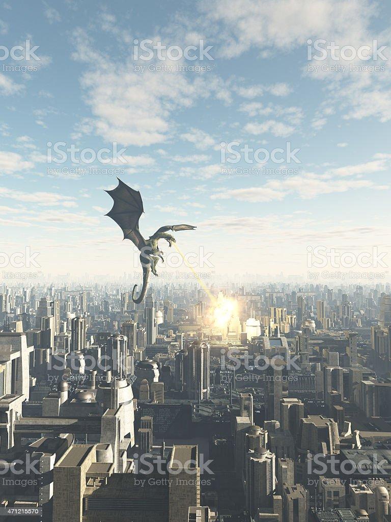 Dragon Attacking a Future City stock photo