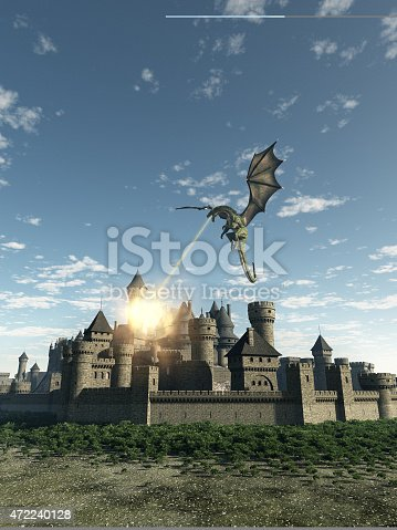 istock Dragon Attacking a Medieval Walled City 472240128