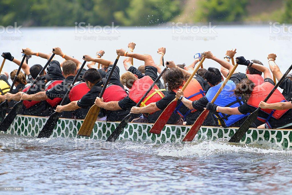 Dragon boat race crew stock photo