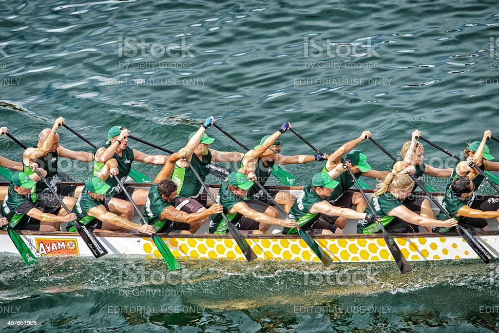 Dragon boat racing for Chinese new year in Sydney stock photo