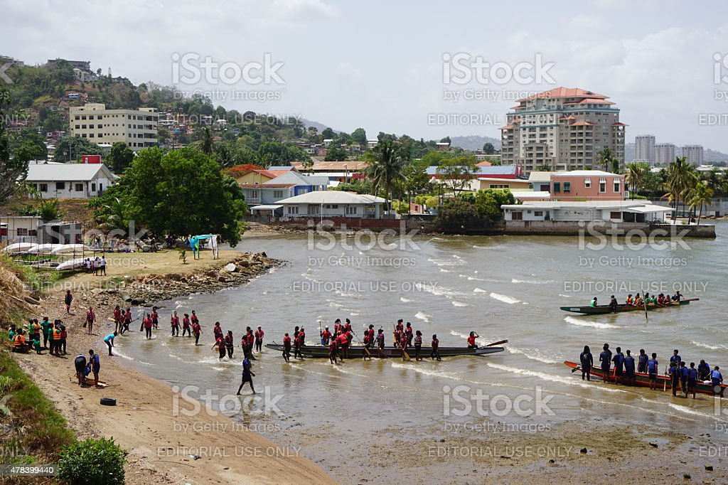 Dragon boat racing in Westmoorings, Trinidad stock photo