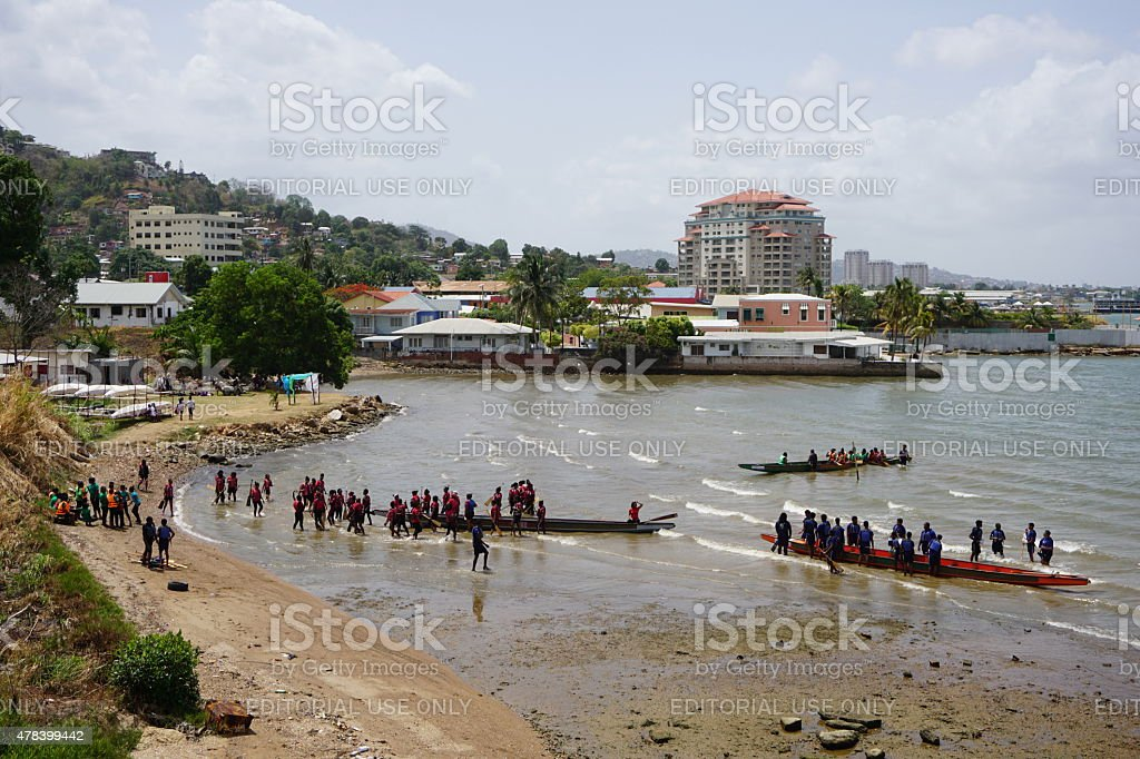 Dragon boat racing in Westmoorings, Trinidad, West Indies stock photo