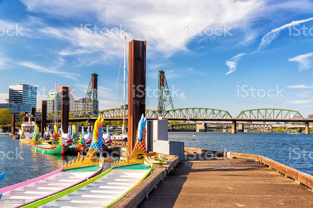 Dragon Boats and Hawthorne Bridge Dragon boats and the Hawthorne Bridge in downtown Portland, Oregon Chinese Culture Stock Photo