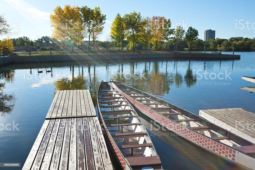 Dragon boats at Wascana Marina in Regina Saskatchewan stock photo