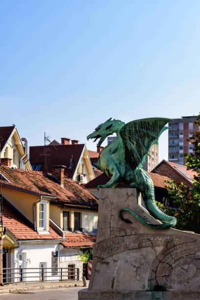 Dragon Bodyguard, Dragon Bridge, Ljublijana, Slovenia Dragon Bodyguard, Dragon Bridge, Ljublijana, Slovenia ljubljanica river stock pictures, royalty-free photos & images