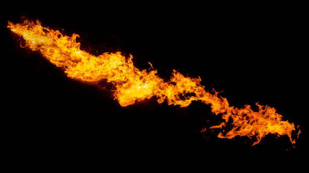 Dragon breathing flame Dragon breathing flame, fire stream isolated on black dragon stock pictures, royalty-free photos & images