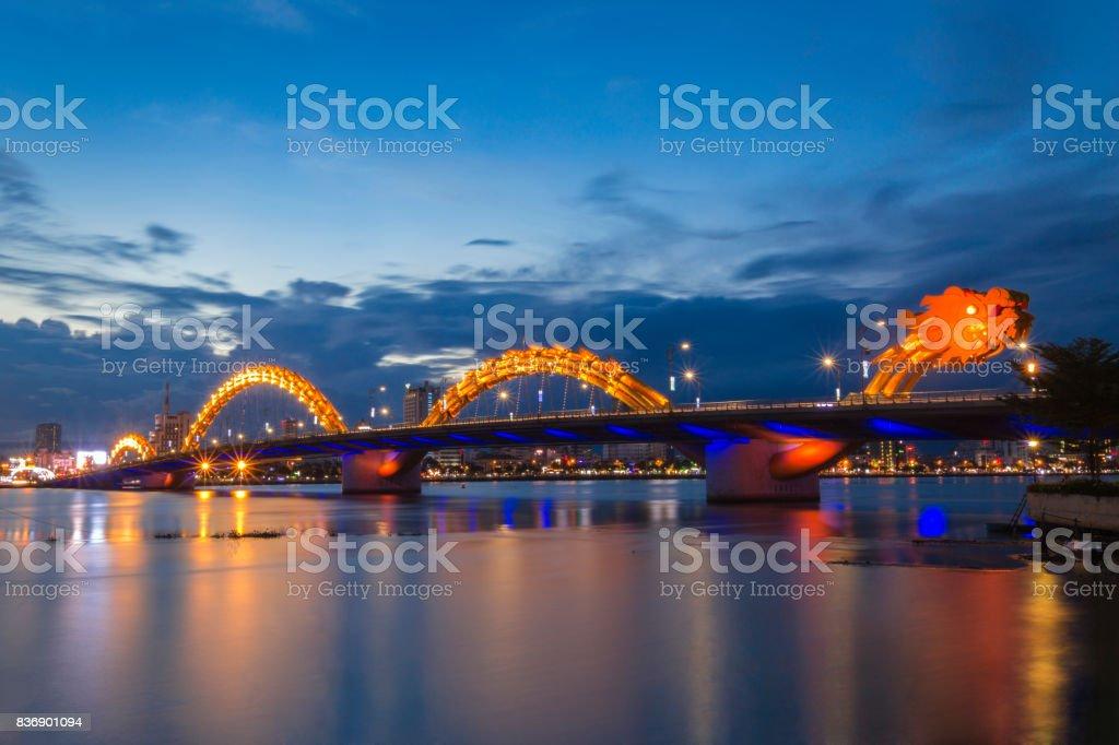 Dragon bridge at night stock photo