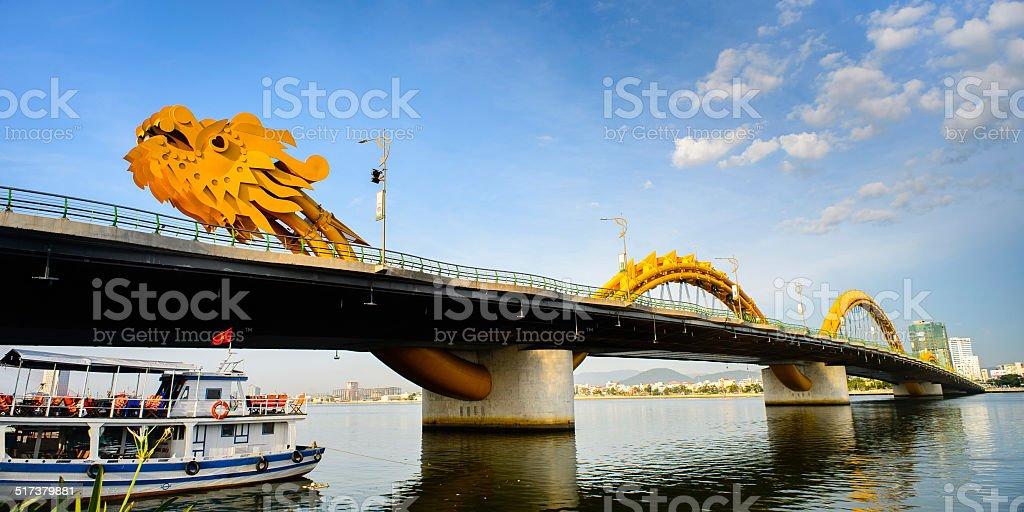 Dragon bridge cross Han river at Danang city stock photo