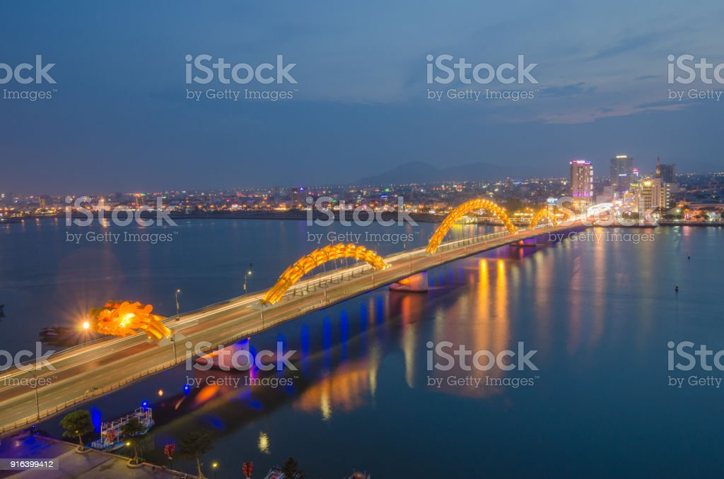 Dragon bridge (Cou Rong), Da Nang in central Vietnam. At night stock photo