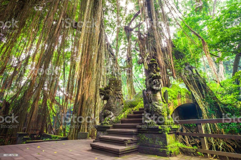 Dragon Bridge in Monkey Forest, Ubud Bali Indonesia. stock photo