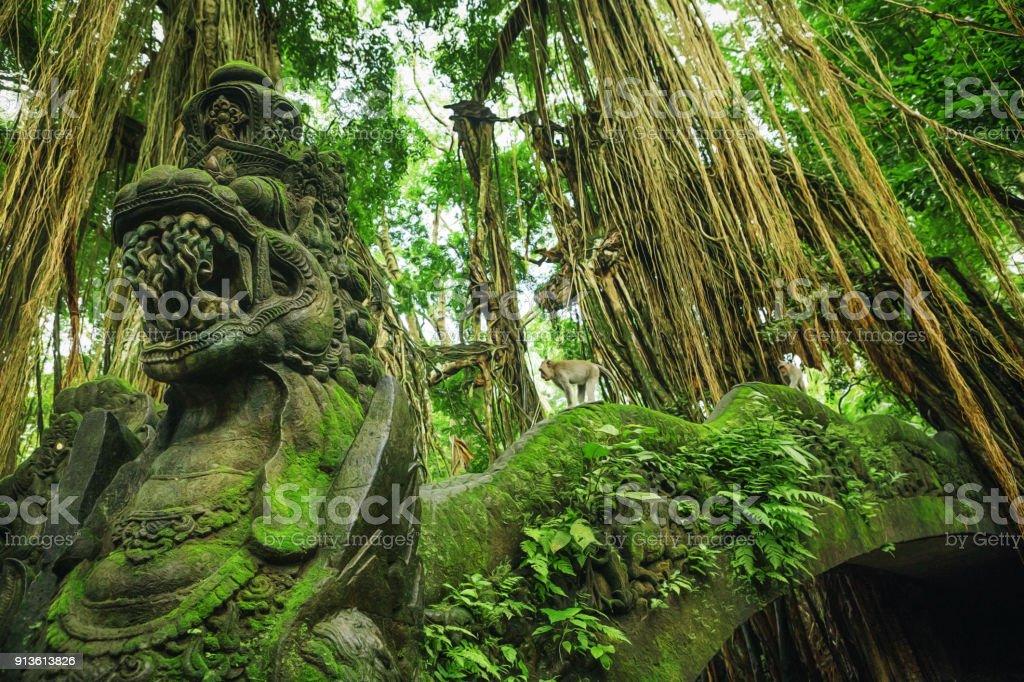 Dragon Bridge in Monkey Forest, Ubud Bali Indonesia stock photo