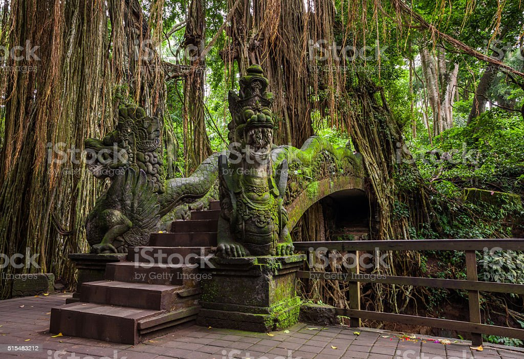 Dragon Bridge in Sacred Monkey Forest Sanctuary, Ubud, Bali stock photo