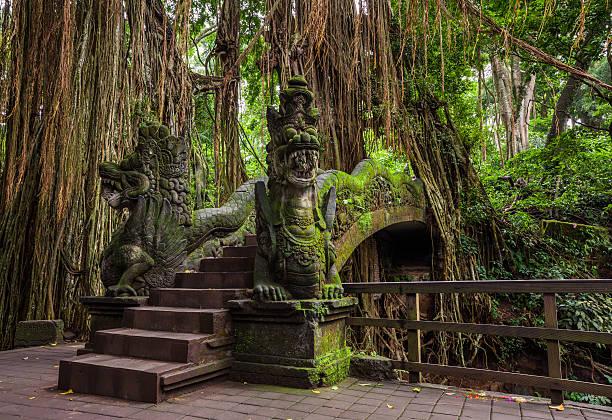 Dragon Bridge in Sacred Monkey Forest Sanctuary, Ubud, Bali stock photo