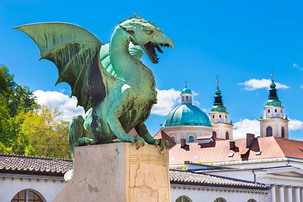 Dragon bridge, Ljubljana, Slovenia, Europe. Famous Dragon bridge (Zmajski most), symbol of Ljubljana, capital of Slovenia, Europe. ljubljana stock pictures, royalty-free photos & images