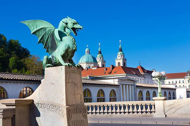 Dragon bridge, Ljubljana, Slovenia, Europe. Famous Dragon bridge (Zmajski most), symbol of Ljubljana, capital of Slovenia, Europe. ljubljanica river stock pictures, royalty-free photos & images