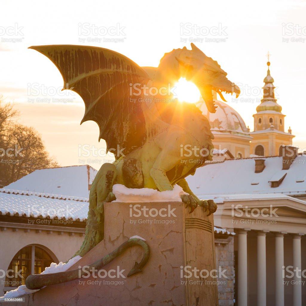 Dragon bridge, Ljubljana, Slovenia, Europe. stock photo