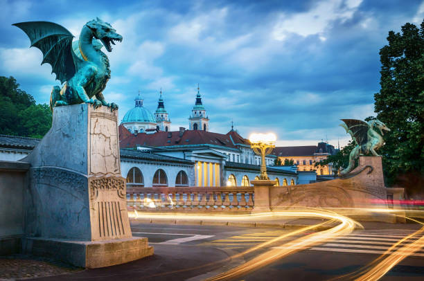 Dragon bridge (Zmajski most), symbol of Ljubljana, capital of Slovenia, Europe. stock photo
