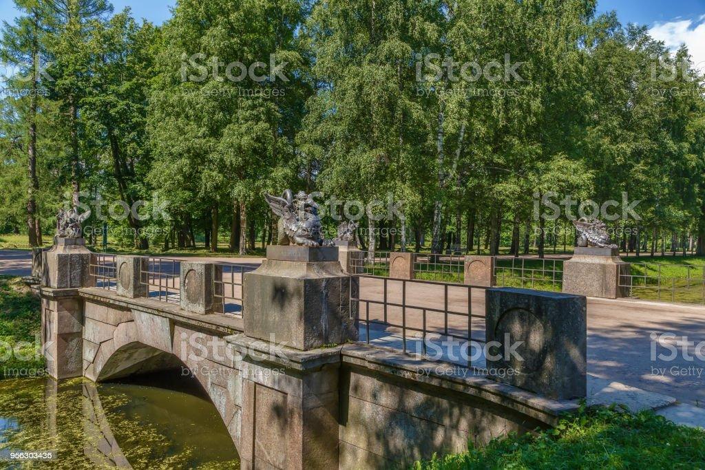 Dragon Bridge, Tsarskoye Selo, Russia stock photo