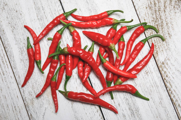 Dragon Cayenne Peppers stock photo