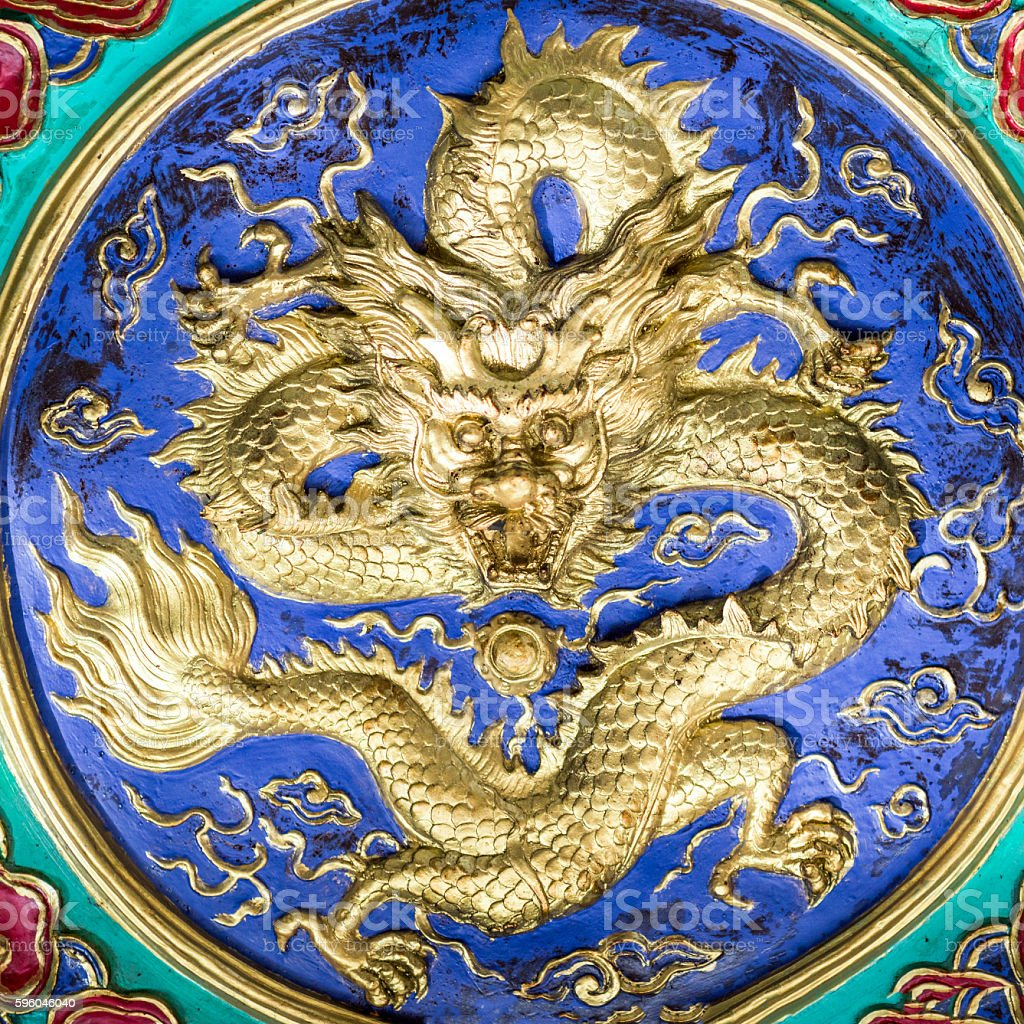 Dragon decoration at a temple royalty-free stock photo