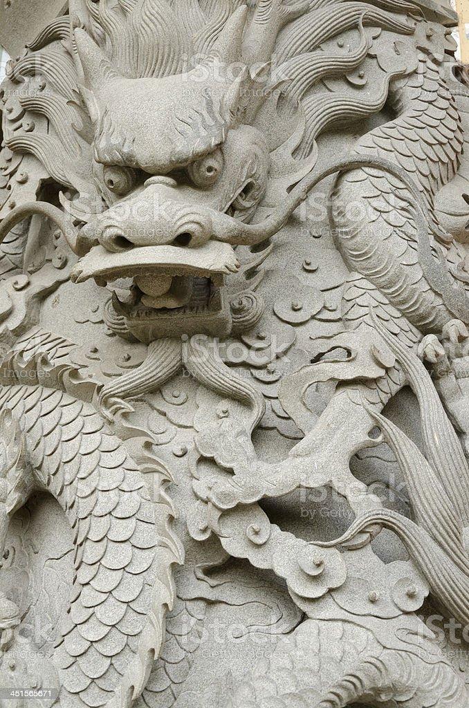 Dragon engraved wall stock photo