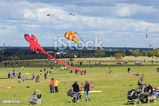 Hannover, Germany - September 27, 2015: Drachenfest am Kronsberg - festival of the flying dragons everyone traditionally at the end of September on Kronsberg in Hannover, Germany