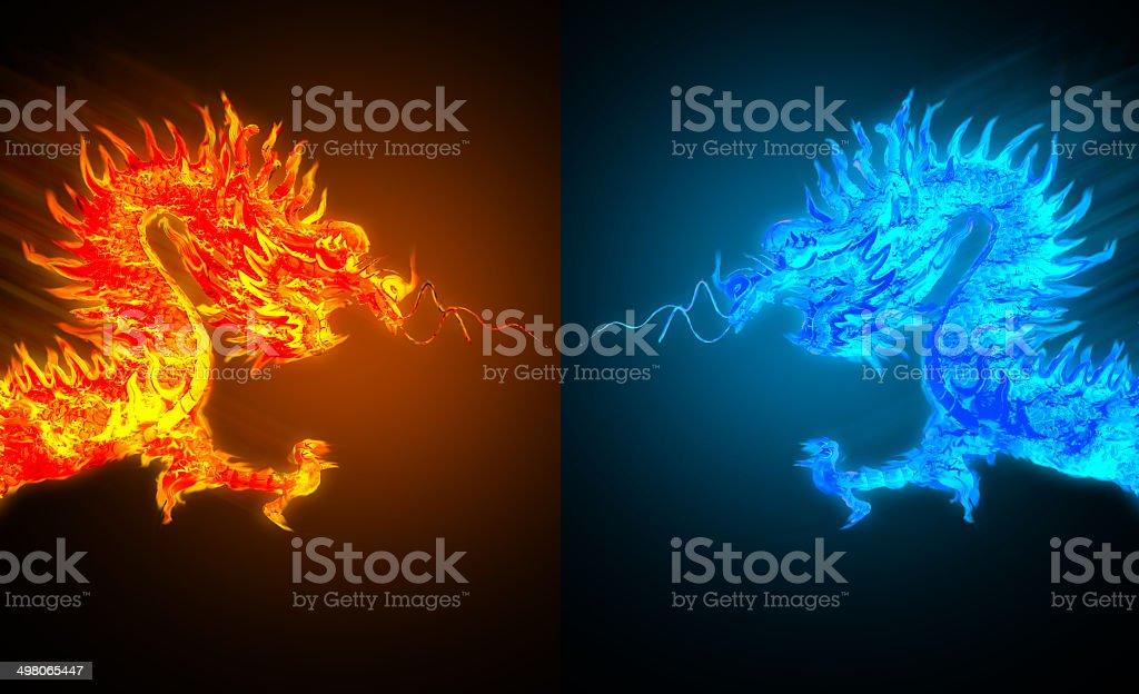ドラゴンファイヤードラゴンとアイス ストックフォト