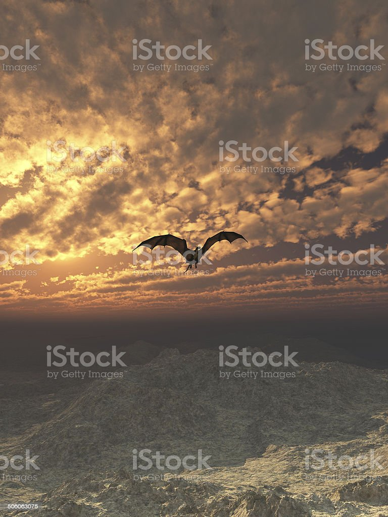 Dragon Flying at Sunset stock photo