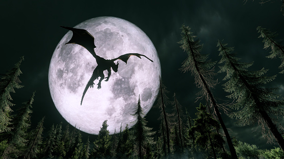 Dragon flying in the night  moon: https://moon.nasa.gov/resources/127/lunar-near-side/?category=images https://moon.nasa.gov/system/resources/detail_files/127_133_lro_nearside.jpg