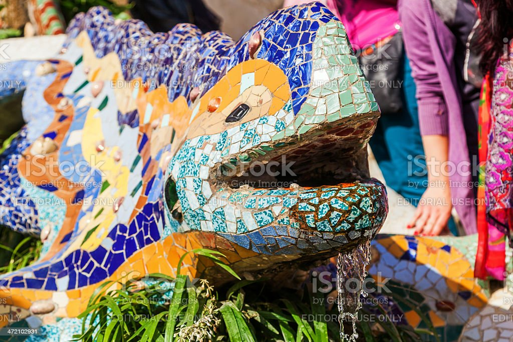 dragon from ceramic fragments in Park Guell stock photo