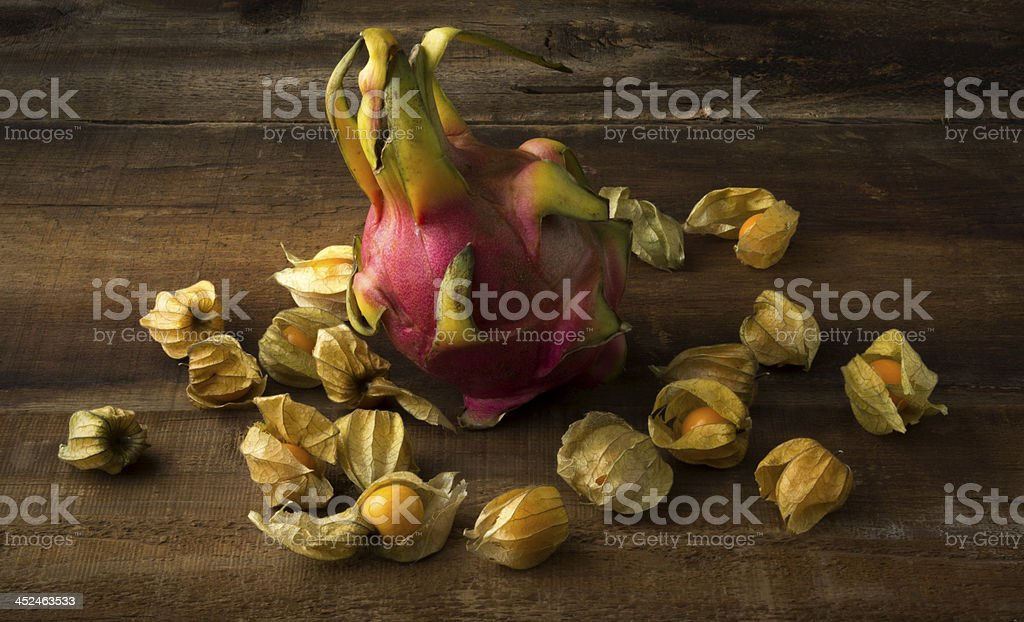 Dragon Fruit and Gooseberries stock photo