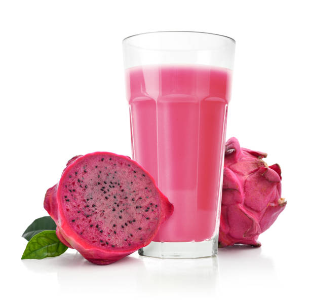 Dragon fruit smoothie in glass Dragon fruit smoothie in glass with fresh fruit isolated on white background pitaya stock pictures, royalty-free photos & images