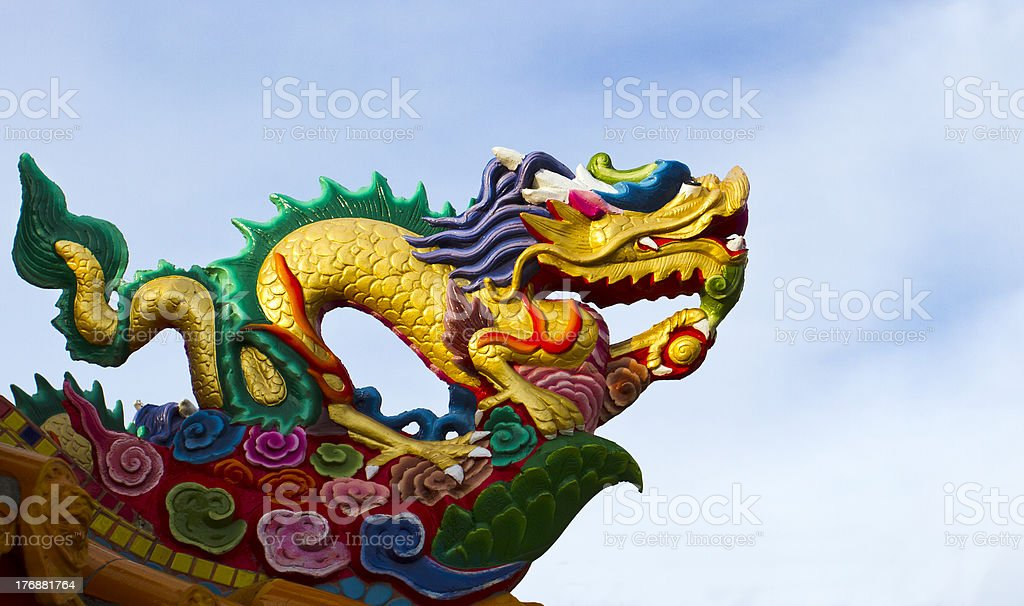 Dragon guard on the roof of Chinese temple royalty-free stock photo
