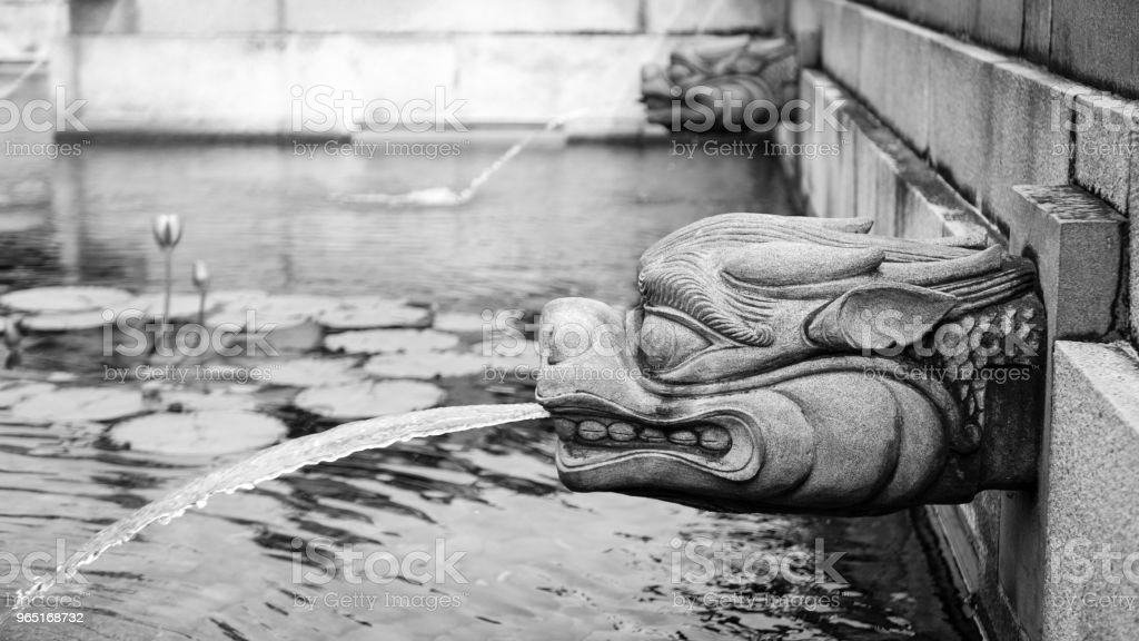 Dragon Head Fountain in the Lotus Pond Garden of the Chi Lin Nunnery, Kowloon, Hong Kong (Black and White, Copy Space) royalty-free stock photo