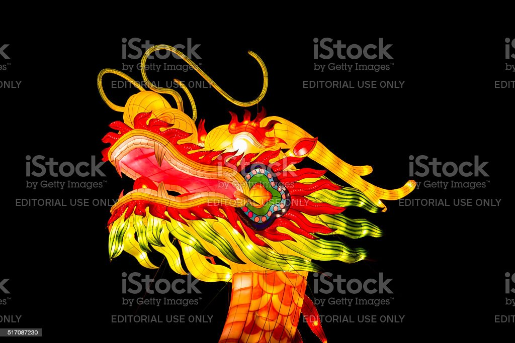 Dragon head lantern on a black background stock photo
