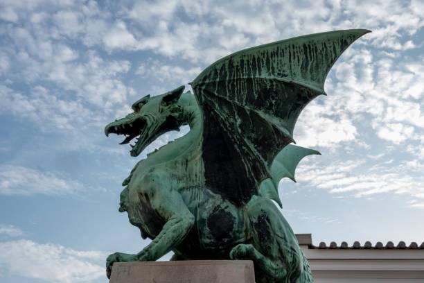 Dragon on Ljubljana's Dragon Bridge stock photo