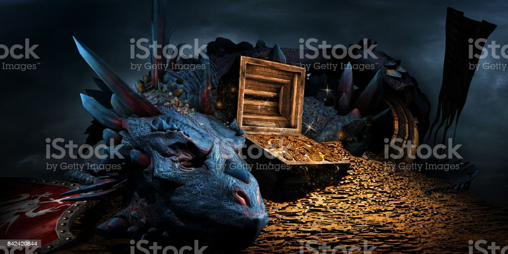 Dragon on the stack of gold stock photo