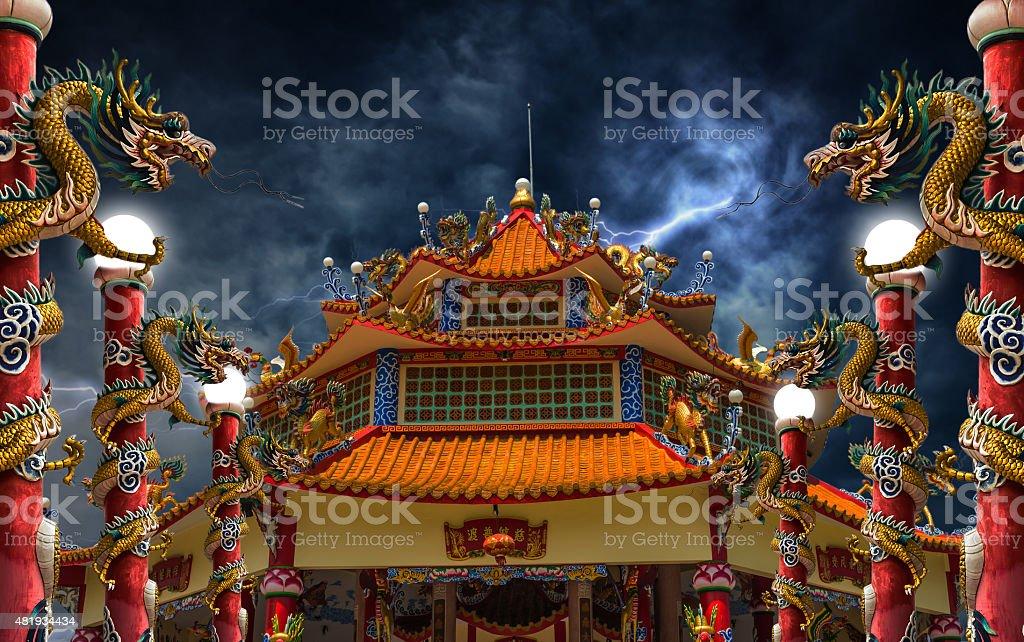 Dragon palace lightning storm stock photo