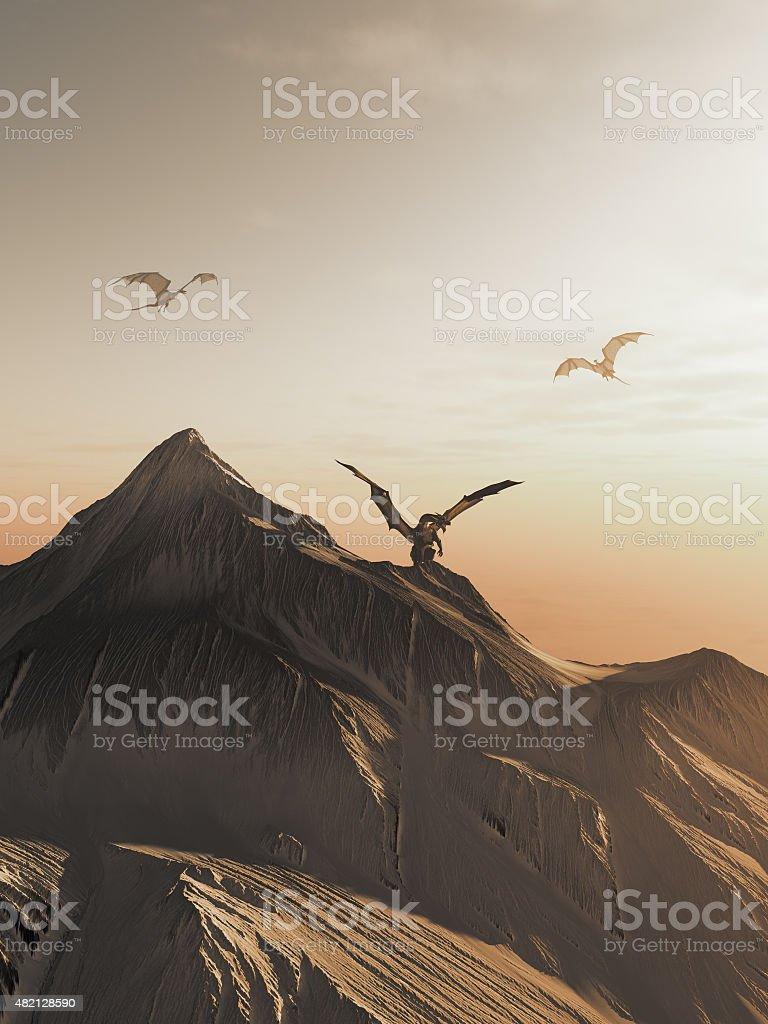 Dragon Peak at Sunset stock photo