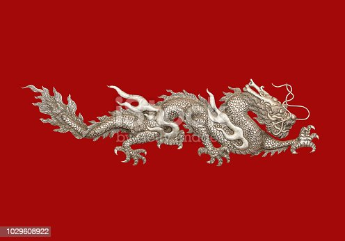 Silver Dragon red backdrop. With clipping path.