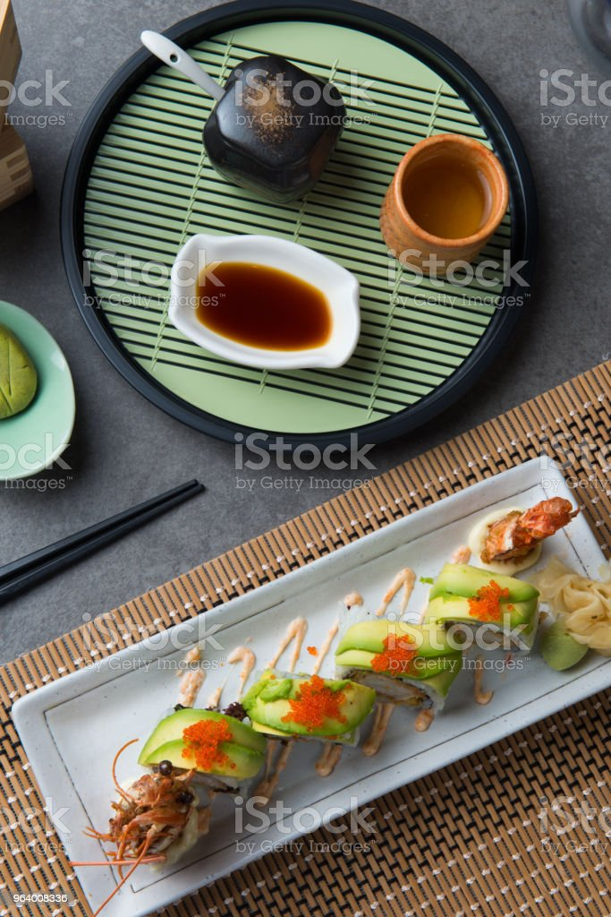 dragon roll king prawn sushi flat lay view - Royalty-free Avocado Stock Photo