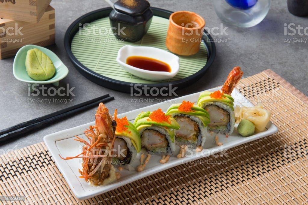 dragon roll king prawn sushi - Royalty-free Avocado Stock Photo