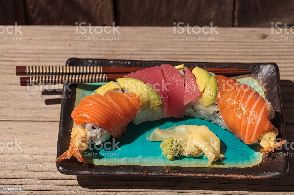 Dragon roll sushi with salmon stock photo
