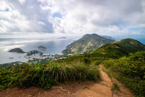 Dragon 's Back mountain trail, best urban hiking trail in Hong Kong stock photo