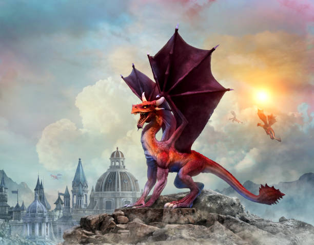 Dragon scene 3D illustration Dragon and city scene 3D illustration dragon stock pictures, royalty-free photos & images