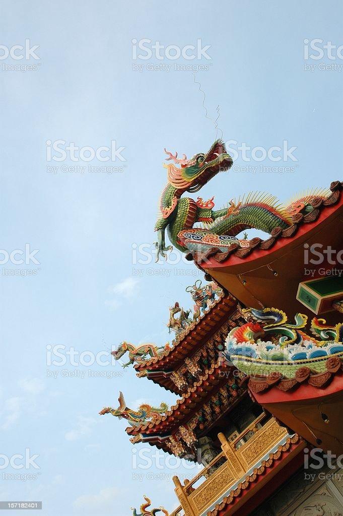 Dragon sculpture on roof @ JiuFern (Taiwan) royalty-free stock photo